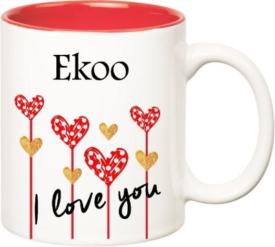 Huppme I Love You Ekoo Inner Red  (350 ml) Ceramic Mug