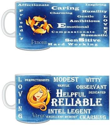 CreativesKart Zodiac Pisces (M) Virgo (F) Compatibility  Ceramic Mug