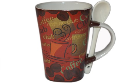 MGPLifestyle Top Square Coffee Maroon  with white Spoon Ceramic Mug