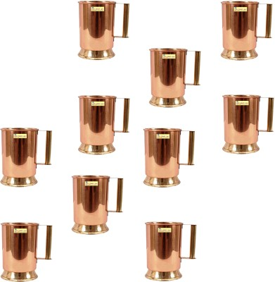 SSA Set of 10 Brass Handle with Brass Bottom Copper, Stainless Steel Mug