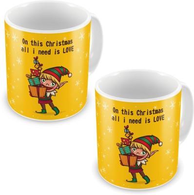 Indian Gift Emporium Printed Design Yellow Cute Coffee s Pair 622 Ceramic Mug