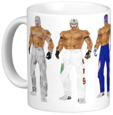 Huppme Gifts Rey Mysterio Five Pic White  Ceramic Mug
