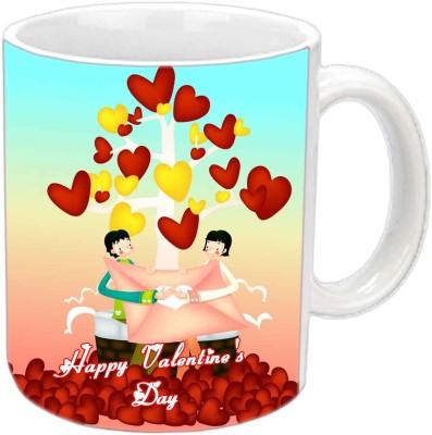 Jiya Creation Valentine Love Flying Hearts White  Ceramic Mug