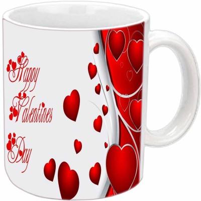 Jiya Creation Sparkling Hearts Valentine White  Ceramic Mug