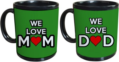 Tiedribbons We Love mom and Dad Gift For Parents Set Of 2 Ceramic Mug