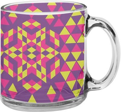 meSleep Geometrical Mauve Pattern Glass Mug