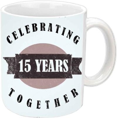 Jiya Creation1 Celebrating 15th Years Together White Ceramic Mug