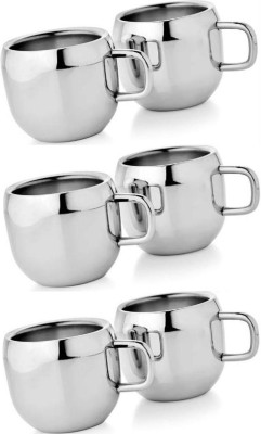 Dynore Set of 6 Double Wall Apple Cups Stainless Steel Mug