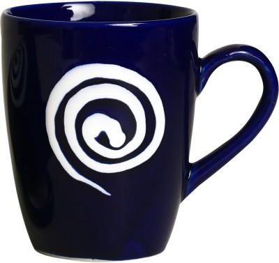 Caffeine Coffee  in Blue With White Doodle (Set of 1) Ceramic Mug