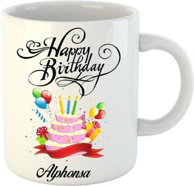 Huppme Happy Birthday Alphonsa White  (350 ml) Ceramic Mug