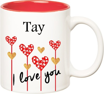 Huppme I Love You Tay Inner Red  (350 ml) Ceramic Mug