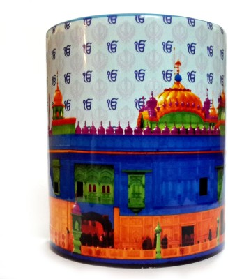 Indiavibes Printed Ceramic Coffee Tea  With Golden Temple Theme Ceramic Mug
