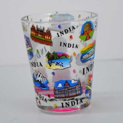 India Souvenirs White Shot Glass with India Expression Design Glass Mug