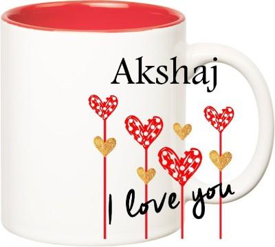 Huppme I Love You Akshaj Inner Red  (350 ml) Ceramic Mug