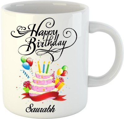 Huppme Happy Birthday Saurabh White  (350 ml) Ceramic Mug