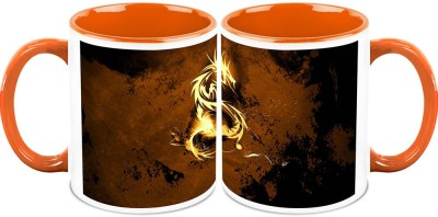 HomeSoGood The Golden Dragon (Qty 2) Ceramic Mug