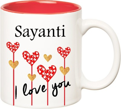 Huppme I Love You Sayanti Inner Red  (350 ml) Ceramic Mug
