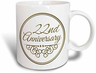 3dRose 22nd Anniversary Gift, Gold Text, Celebrating Wedding ...