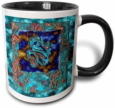 3dRose Chinese New Year, Dragon in Chinese, Aqua Dragon Two Tone Black , 11 oz, Black/White Ceramic Mug