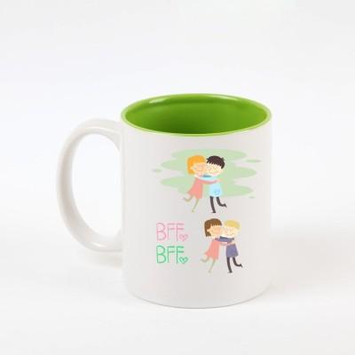 Huppme BFF Best Friend Forever Inner Green  Ceramic Mug