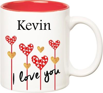 Huppme I Love You Kevin Inner Red  (350 ml) Ceramic Mug