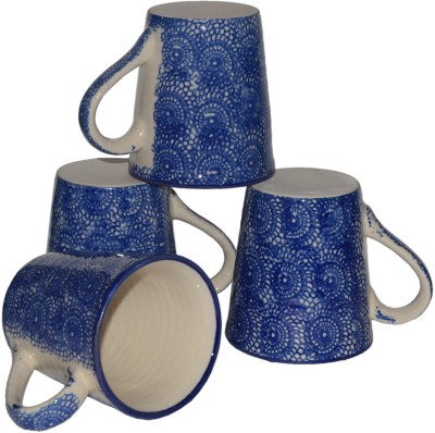 Inhomez Blue Hand Block Painted Stoneware Ceramic Tea/Coffee Pottery, Ceramic Mug