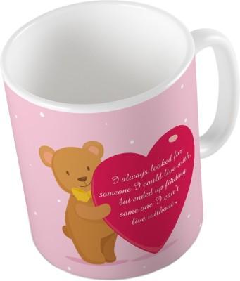Indiangiftemporium Pink Designer Romantic Printed Coffee  684 Ceramic Mug