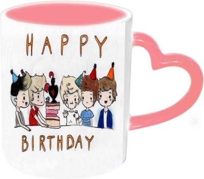 Jiya Creation1 Happy Birthday Friends Multicolor Ceramic Mug