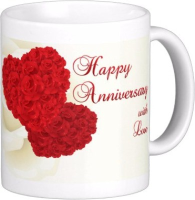 Exoctic Silver Happy Marriage Anniversary : Qw03 Ceramic Mug