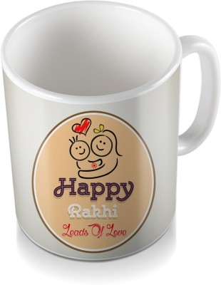 SKY TRENDS GIFT Happy Rakhi Leads of Love Heart Light Cream Color Shade Gifts Rakshabandhan Coffee Ceramic Mug