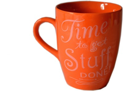 MGPLifestyle Time to get Stuff Done! Quote  in Orange Color Ceramic Mug