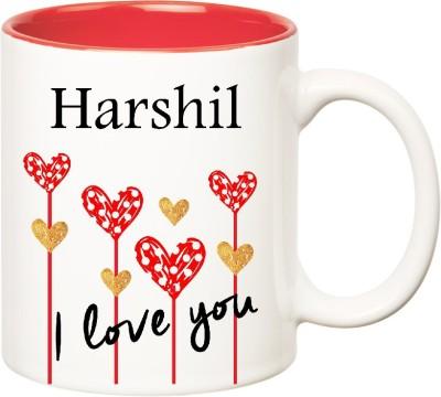Huppme I Love You Harshil Inner Red  (350 ml) Ceramic Mug