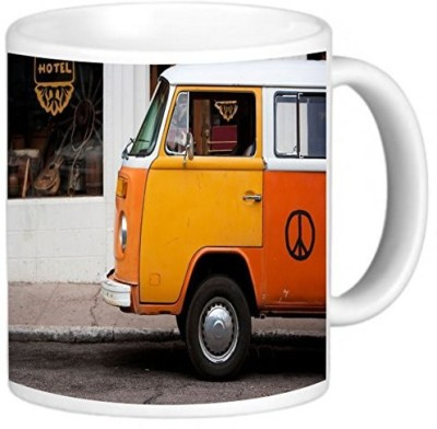 Rikki Knight LLC Knight Photo Quality Ceramic Coffee , 11 oz, Vintage Orange Volkswagen Beetle Van Ceramic Mug