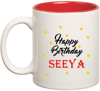 Huppme Happy Birthday Seeya Inner Red Ceramic  (350ml) Ceramic Mug