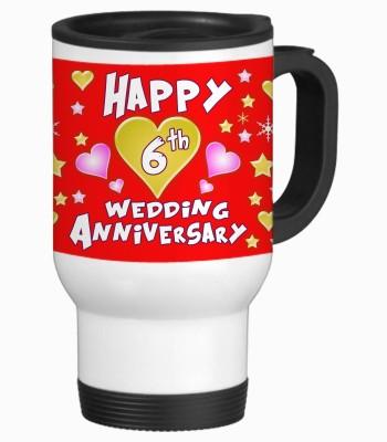 Sajawat Homes 6th Happy Anniversary White Travel Stainless Steel Mug