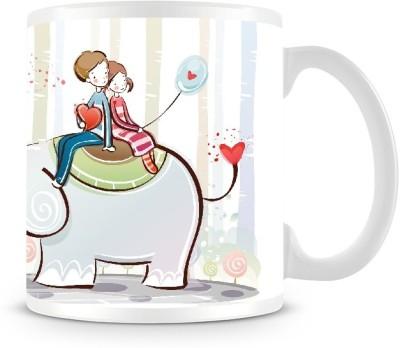 Shoprock Couples on the Elephant Coffee Ceramic Mug