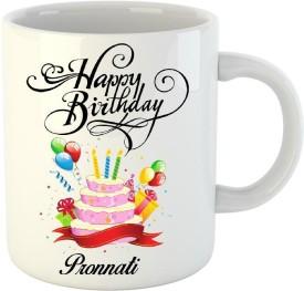Huppme Happy Birthday Pronnati White (350 ml) Ceramic Mug(350 ml)