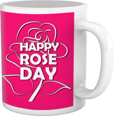 Tiedribbons Happy Rose Day Pink Background Coffee Ceramic Mug