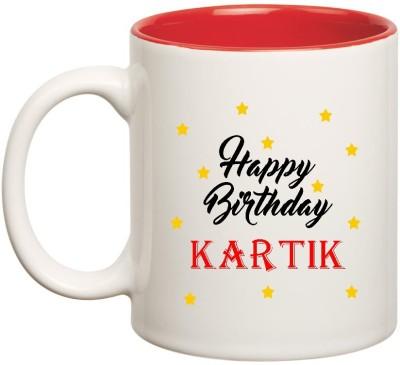 Huppme Happy Birthday Kartik Inner Red Ceramic  (350ml) Ceramic Mug