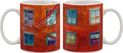Artifa Red Building With Stairs Porcelain, Ceramic Mug