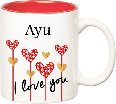 Huppme I Love You Ayu Inner Red  (350 ml) Ceramic Mug