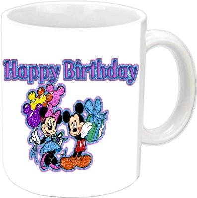RajLaxmi Mickey Mouse Design Happy B,day White  Ceramic Mug