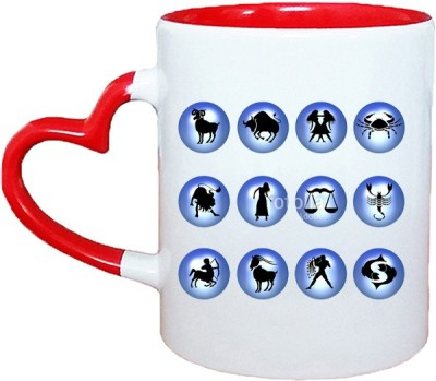 Muggies Magic Horoscope Logos Red Heart Handle 11 Oz Ceramic Mug(325 ml)
