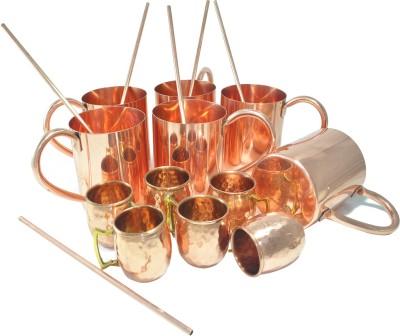 Dakshcraft Solid Tableware with shot cups & straw Copper Mug