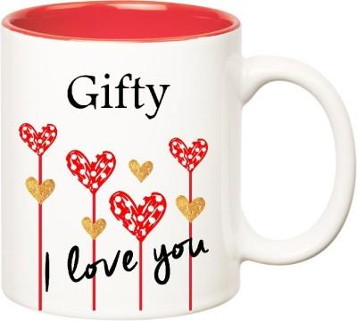Huppme I Love You Gifty Inner Red  (350 ml) Ceramic Mug