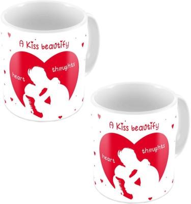 Little India Designer Romantic Print White Coffee s Pair 641 Ceramic Mug
