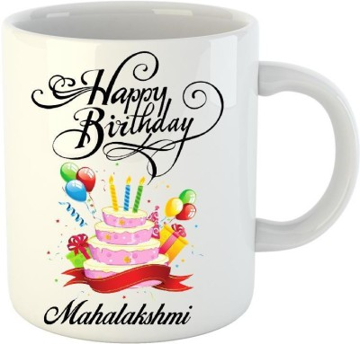 Huppme Happy Birthday Mahalakshmi White  (350 ml) Ceramic Mug