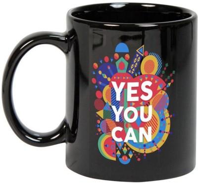 Prithish Yes You Can Black Ceramic Mug