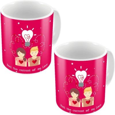 Indiangiftemporium Designer Romantic Printed Coffee s Pair 688 Ceramic Mug
