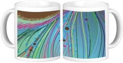 Shopmillions Abstract Feather Design Ceramic Mug